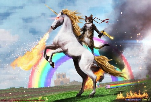 fire-breathing unicorn gun-toting puss astride - rainbows on the day the myths collide