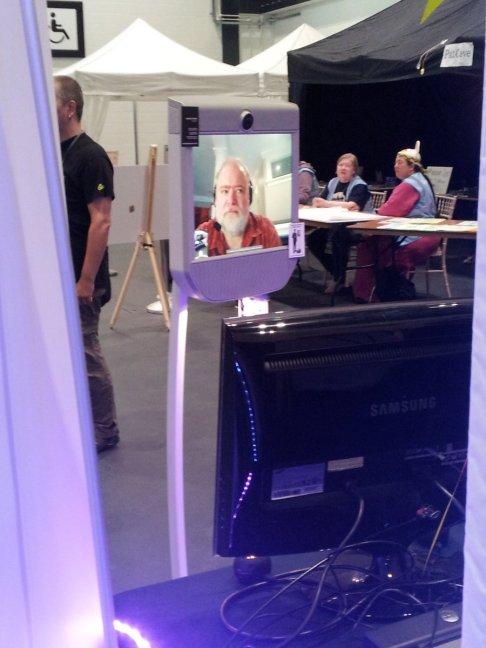 Brad a fan attending Loncon2 by robot beam